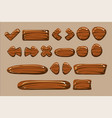 wooden buttons of different shapes set details vector image