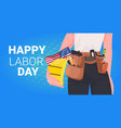 workman in uniform with usa flag labor day vector image