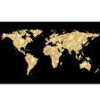 World abstract pixel golden map on black vector image