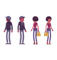 young black man and woman standing vector image