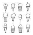 Tasty ice creams isolated on white Hand drawing vector image