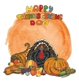 Thanksgiving dayWatercolor splashDoodle harvest vector image