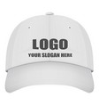 realistic front view white baseball cap with logo vector image