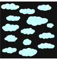 set of cartoon clouds on a black background vector image