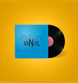vintage vinyl record in a blue paper case with vector image