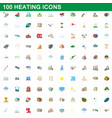 100 heating icons set cartoon style vector image vector image