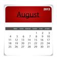 2013 calendar August vector image vector image