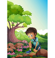A boy watching the rocks in the forest vector image vector image