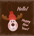 a deer in a knitted hat happy new year hello vector image