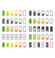 battery icons charging level batteries charge vector image vector image