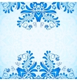 Blue greeting card template with floral pattern in vector image vector image