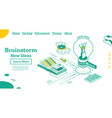 brainstorm isometric outline concept with lamp vector image vector image