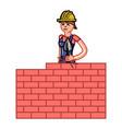 builder woman build a brick wall vector image