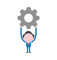 businessman character holding up gear vector image vector image