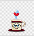 cartoon coffee mug character in glasses and heart vector image
