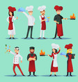 chefs of different cuisines in icon set vector image vector image