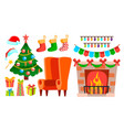 christmas decoration icons fireplace sock vector image
