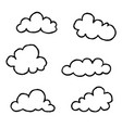 cloud icon set doodle line art weather sign vector image vector image
