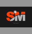 combination letter sm s m in grey orange color vector image vector image