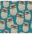 Cool hipster owl seamless pattern with stars vector image