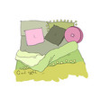 cozy pillows and a blanket good night vector image vector image