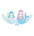 cute little mermaids holding hands leaves vector image vector image