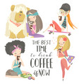 cute young girls drinking coffee set vector image vector image