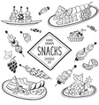 Doodle snacks vector image vector image