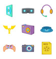 filming icons set cartoon style vector image