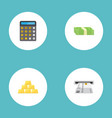 flat icons ingot accounting teller machine and vector image vector image
