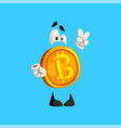 funny bitcoin character showing victory sign vector image vector image