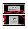 gift voucher templates with red ribbon vector image vector image