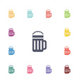 glass beer flat icons set vector image
