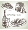 Hand drawn sketch Italian food set vector image vector image