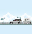 happy couple driving car on road in winter1 vector image vector image