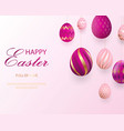 happy easter lettering with pink gold realistic vector image vector image