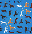 horses run and trot on blue seamless pattern vector image vector image