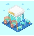 Isometric City City Cafe with Tables and People vector image