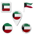 kuwait flag kuwait flag kuwait flag picture vector image vector image