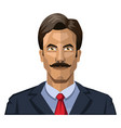 man with mustaches and short black hair on white vector image vector image