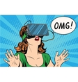OMG emotions from virtual reality retro girl vector image vector image