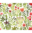 pattern with flowers and plants floral vector image