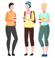 people stand together gathering for communication vector image vector image