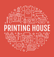 printing house circle poster with flat line icons vector image vector image