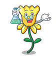 professor daffodil flower character cartoon vector image