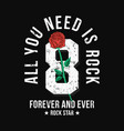 rock music style t-shirt design with red rose vector image vector image