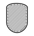 rounded shield in monochrome contour and striped vector image vector image
