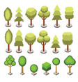 set isometric 3d various shape trees isolated vector image vector image