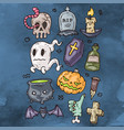 set of cartoon happy halloween icons halloween vector image