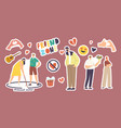 set stickers friend zone theme man and woman vector image vector image